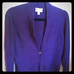 Charter Club 2-Ply Cashmere Purple Cardigan